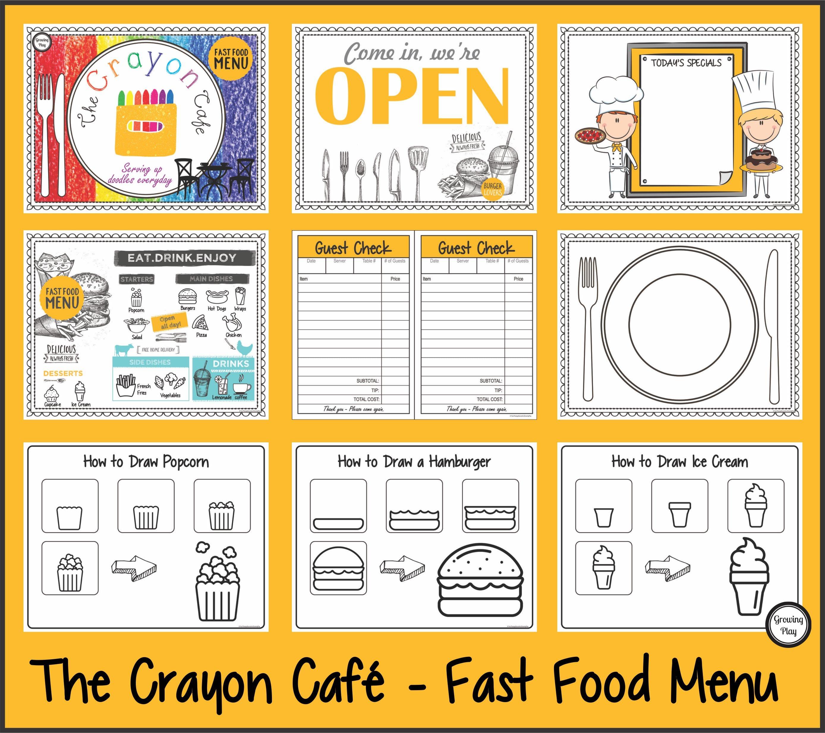 The Crayon Cafe – Fast Food Menu
