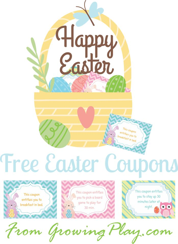 Easter Coupons for Kids from Growing Play