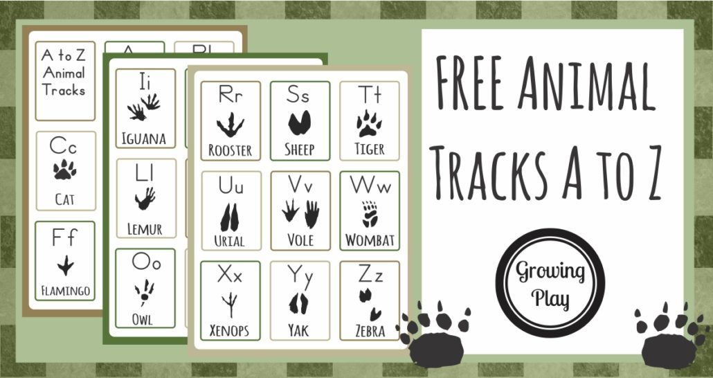 Animal Track Flashcards A to Z FREE from Growing Play 2