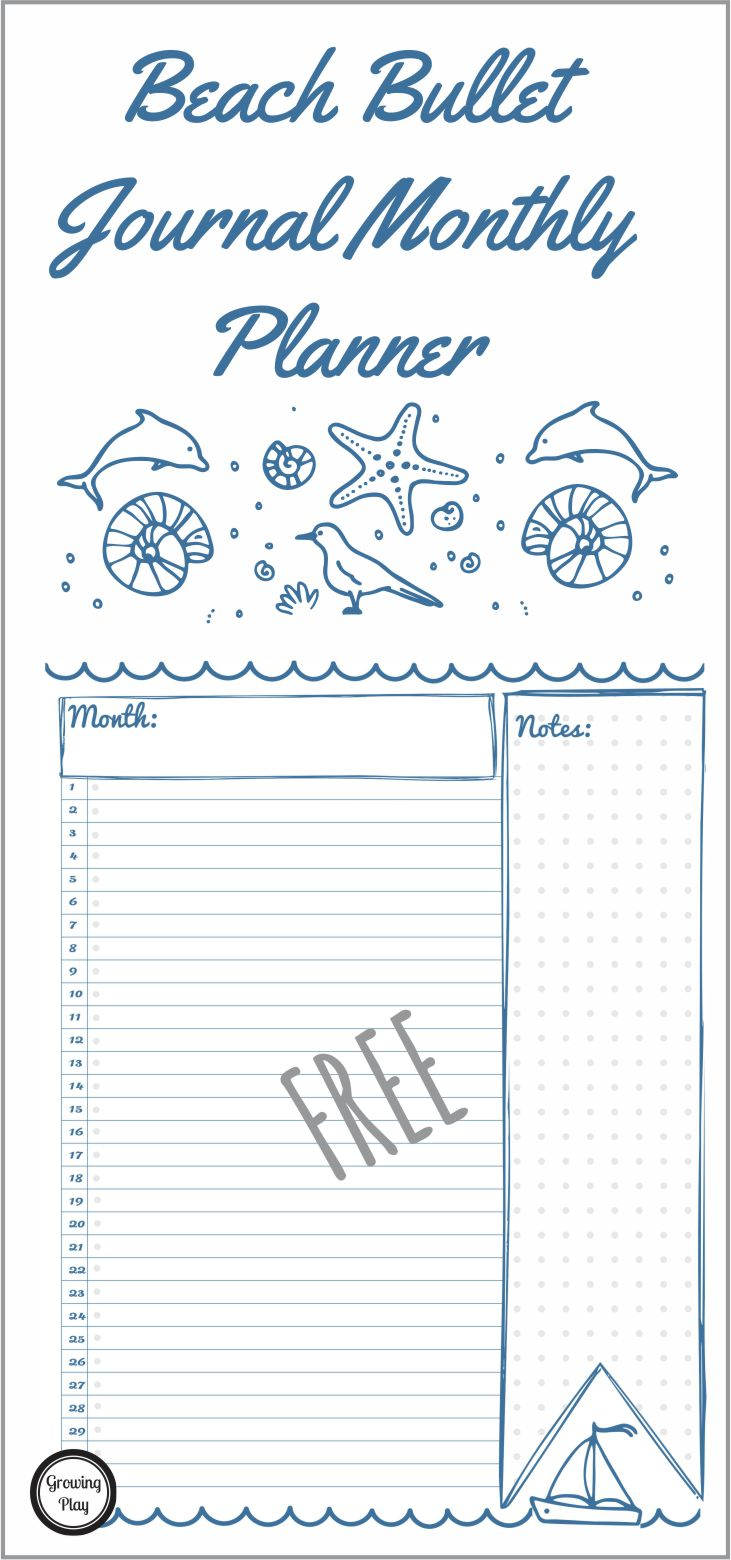 Beach Bullet Monthly Planner from Growing Play pin