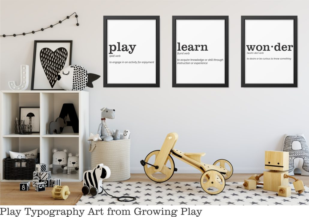 Play Typography Art from Growing Play