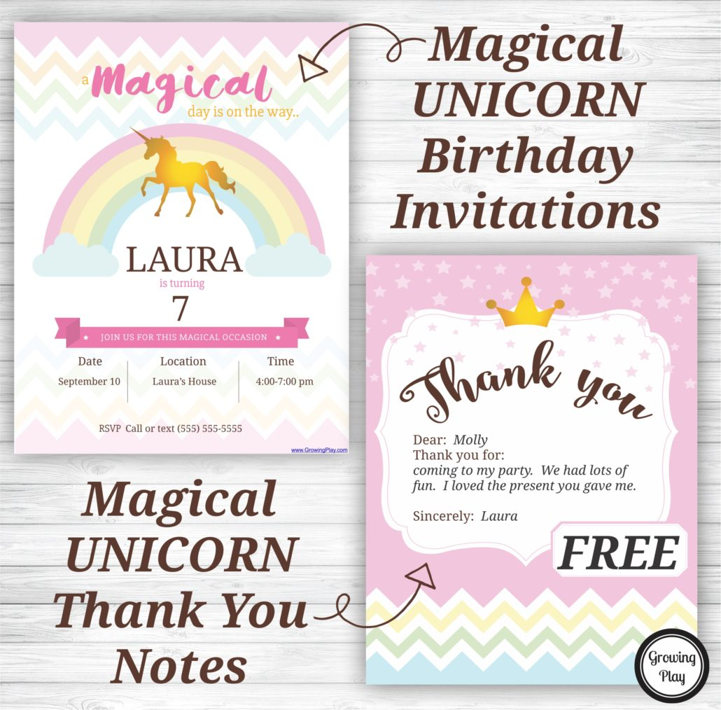 unicorn birthday party invitations and thank you notes free