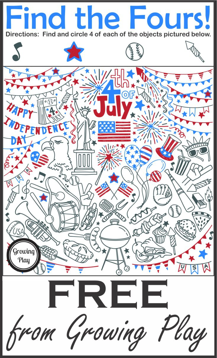 Find the Fours July 4th Puzzle Freebie