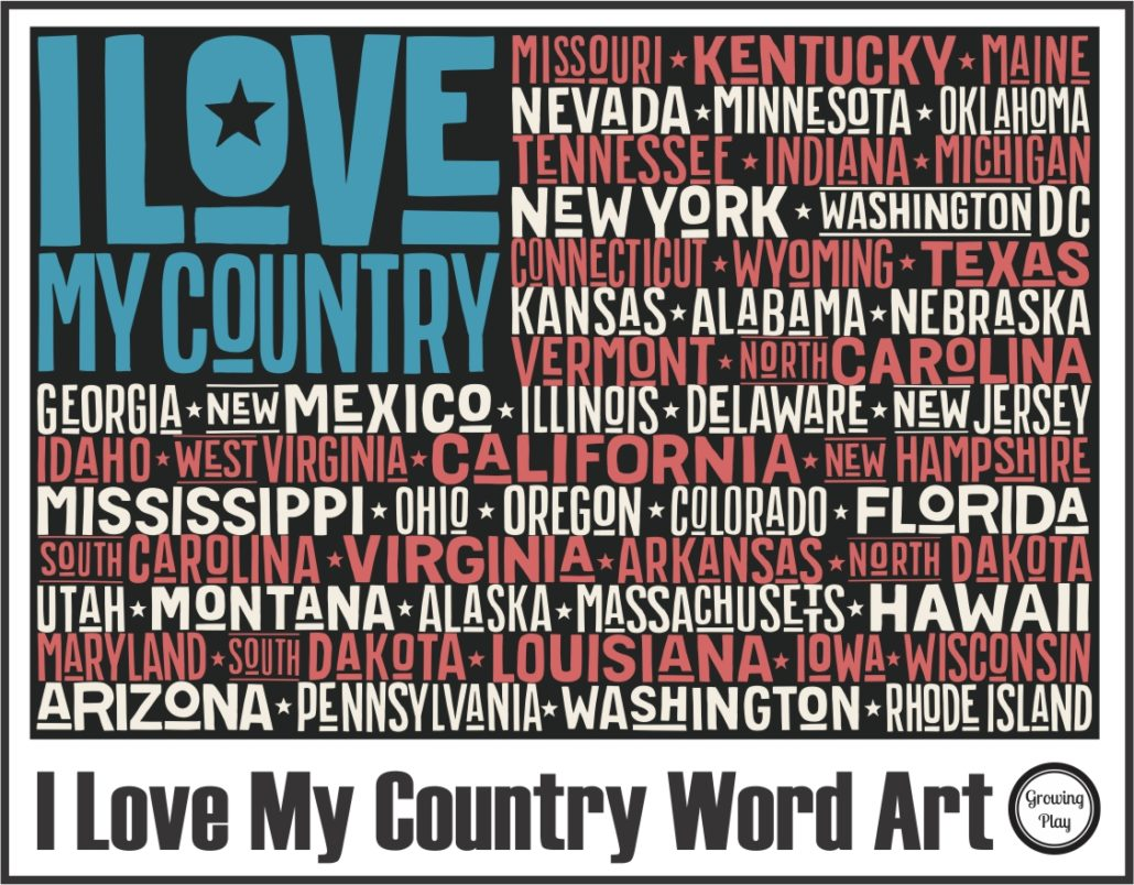 I Love my Country Word Art Coloring Page