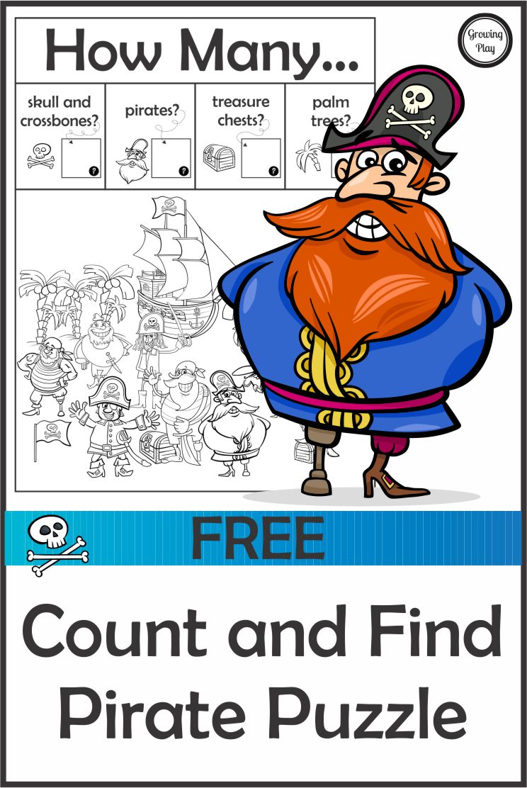 How Many  Count and Find Pirate Puzzle - FREE from Growing Play