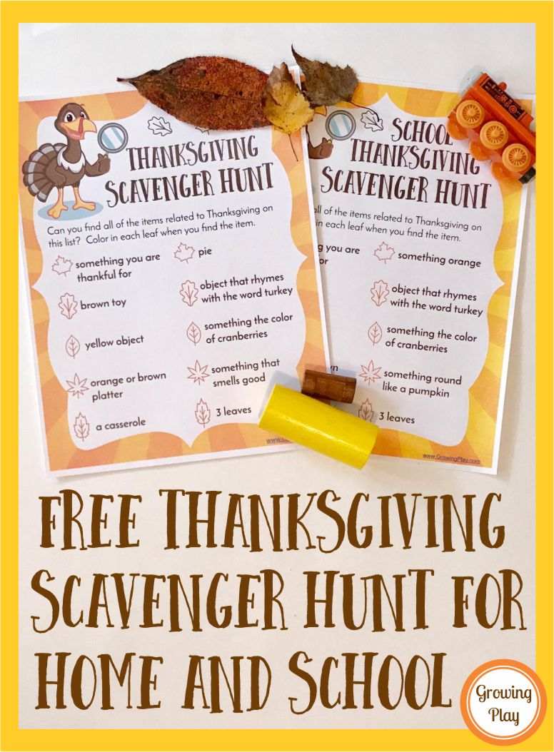 Free Thanksgiving Scavenger Hunt for Home or School