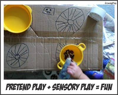 Pretend Play Plus Sensory Play = FUN!