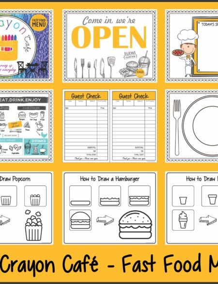 The Crayon Cafe – Fast Food Menu
