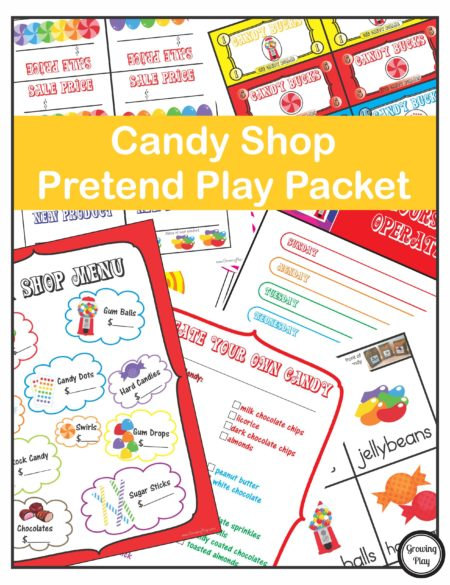 candy shop pretend play packet