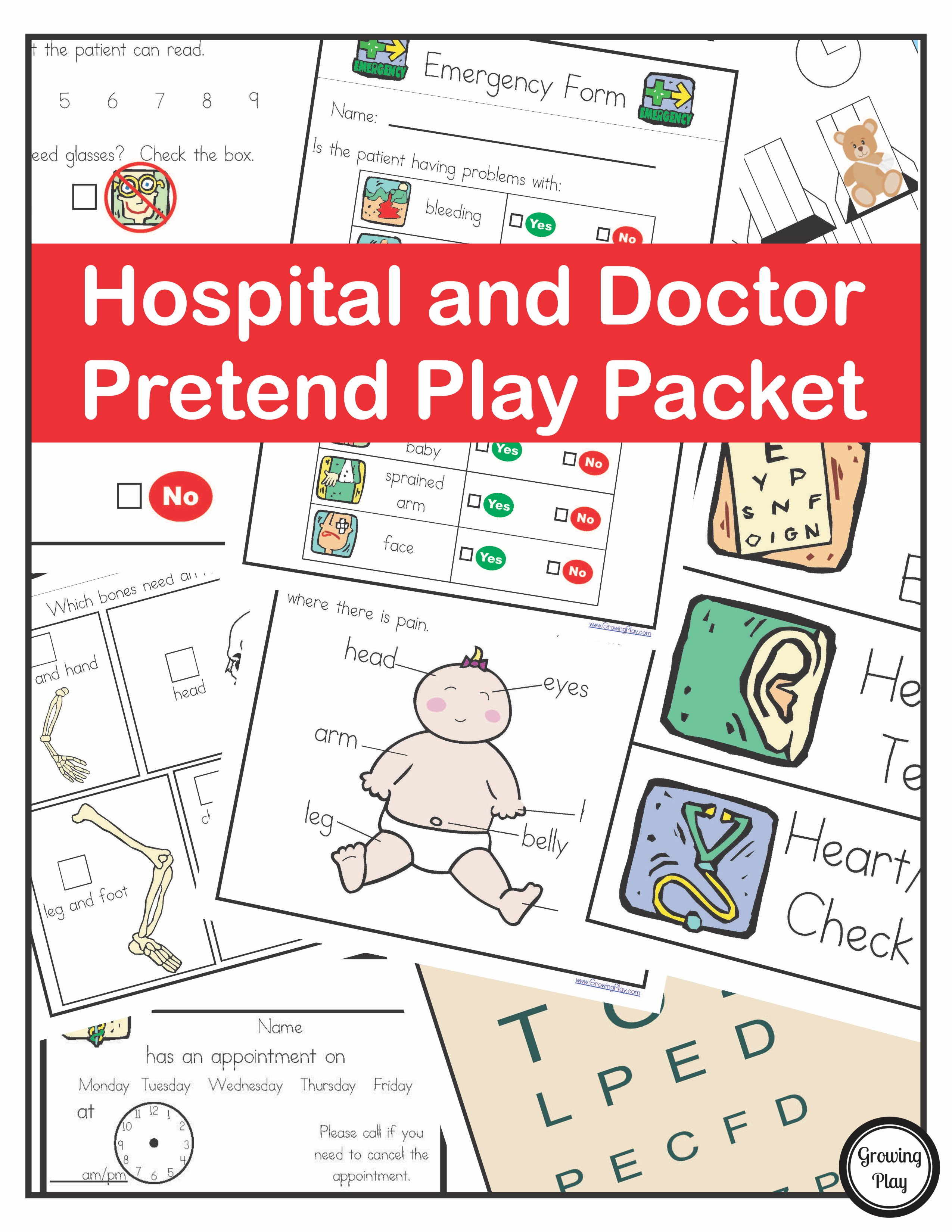 Hospital Doctor Pretend Play Packet Growing Play