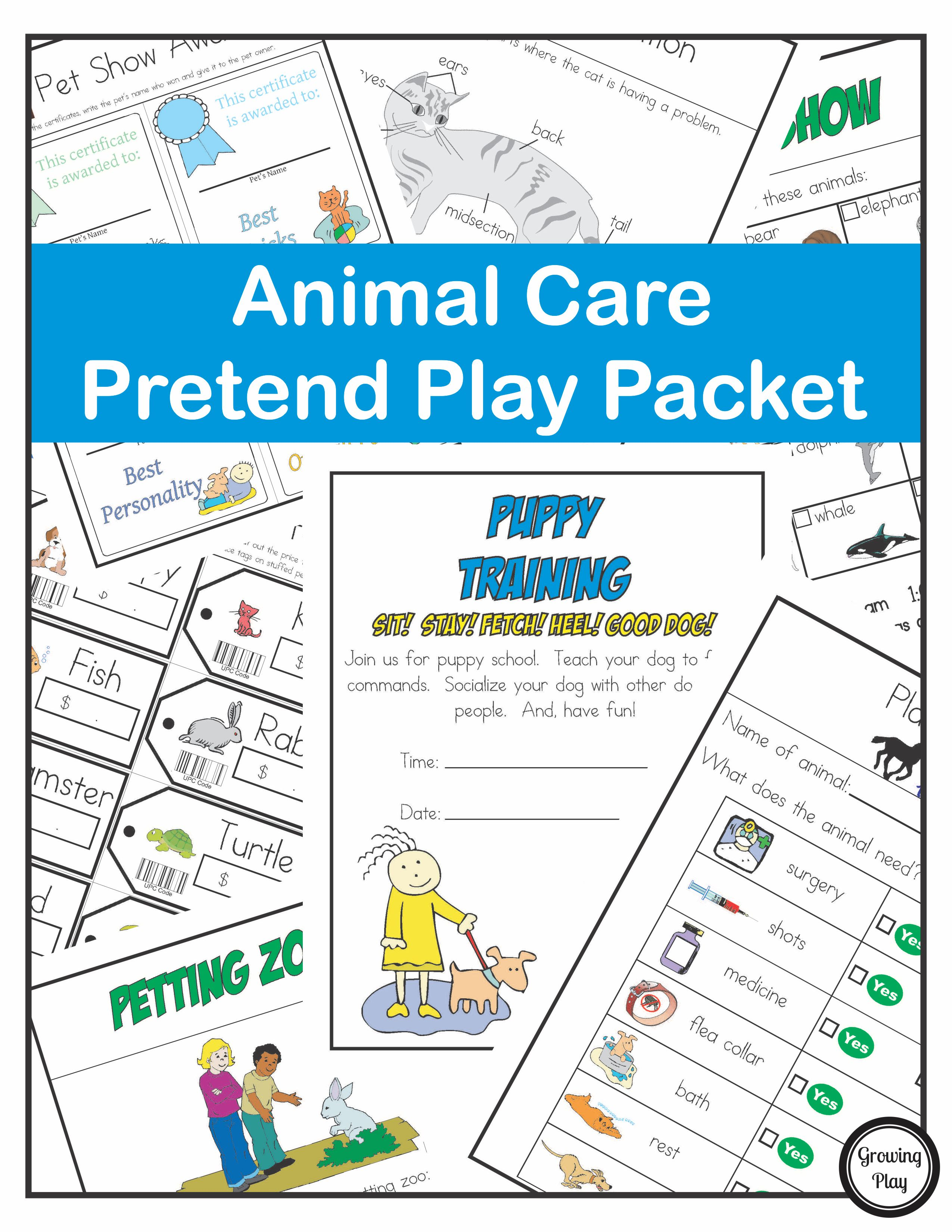 Animal Care Pretend Play Packet
