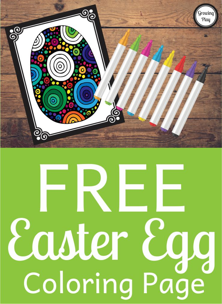 Easter Egg Coloring Page Free from Growing Play