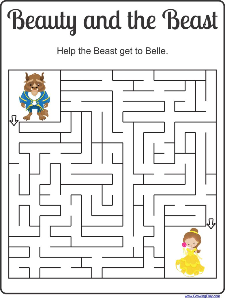 Beauty and the Beast Maze and Puzzles Freebie