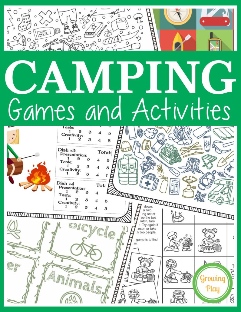 Camping Charades Game for Kids - Free Printable - Growing Play