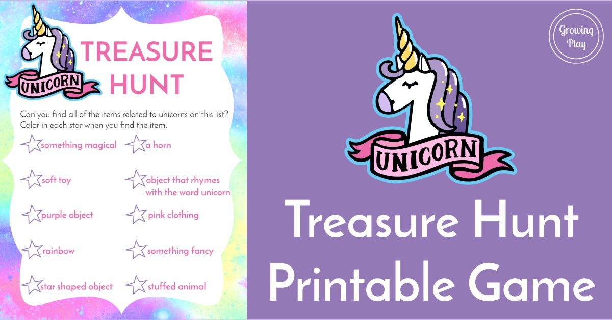 Unicorn Treasure Hunt Game FREE Printable - Growing Play