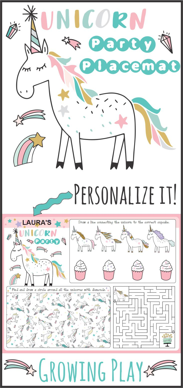 Unicorn Party Supplies - Party Placemat