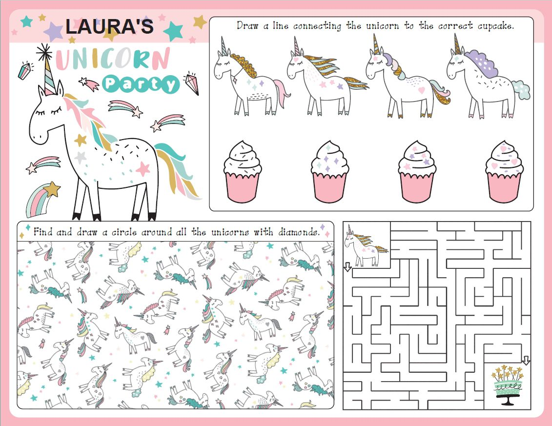 Unicorn Party Supplies Unicorn Placemat Growing Play