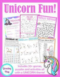 This Digital Download Includes 20 Unicorn Birthday Games Activities And Puzzles It Is Perfect For Rainy Day Fun Indoor Playtime Parties