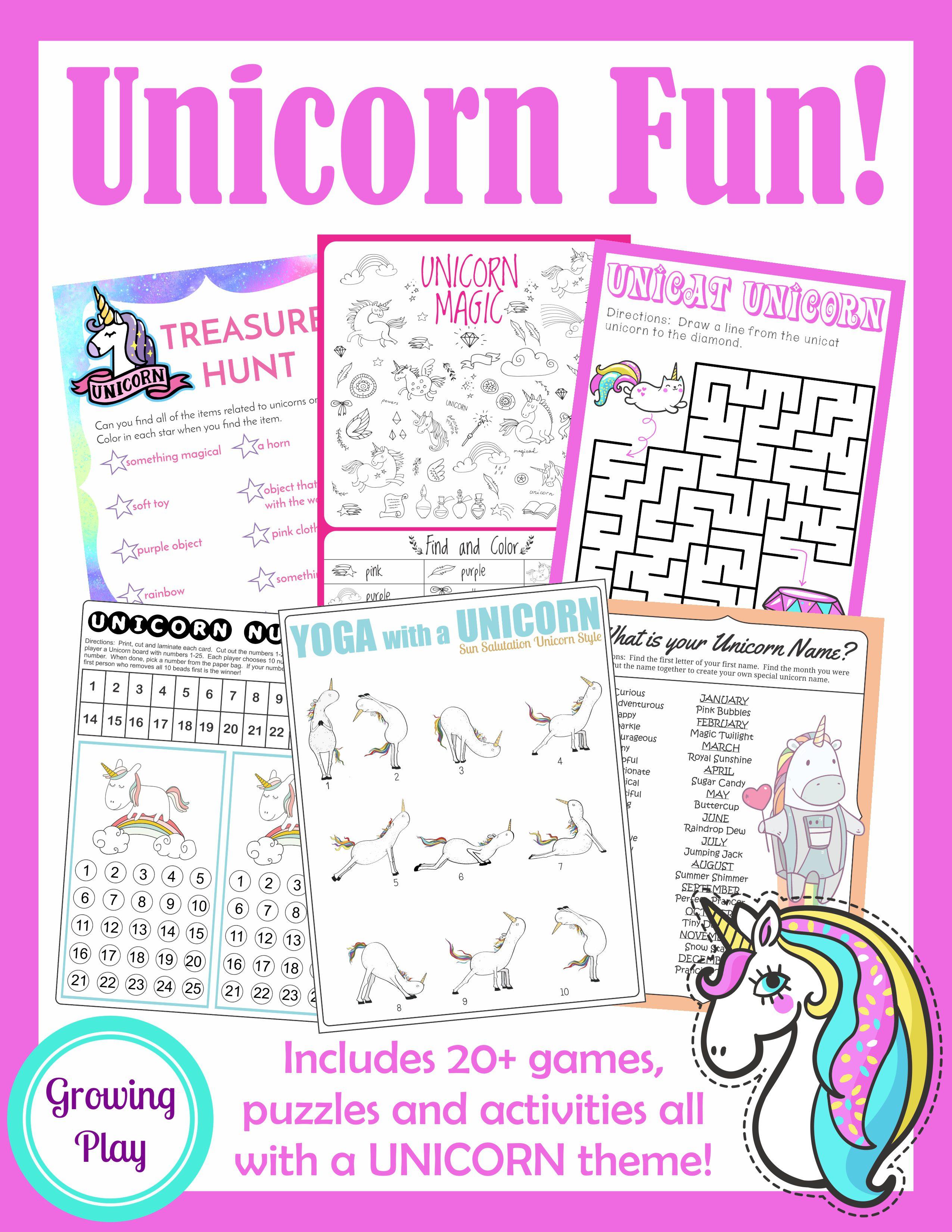 Unicorn Birthday Games Activities Puzzles on Letter U Maze Printable