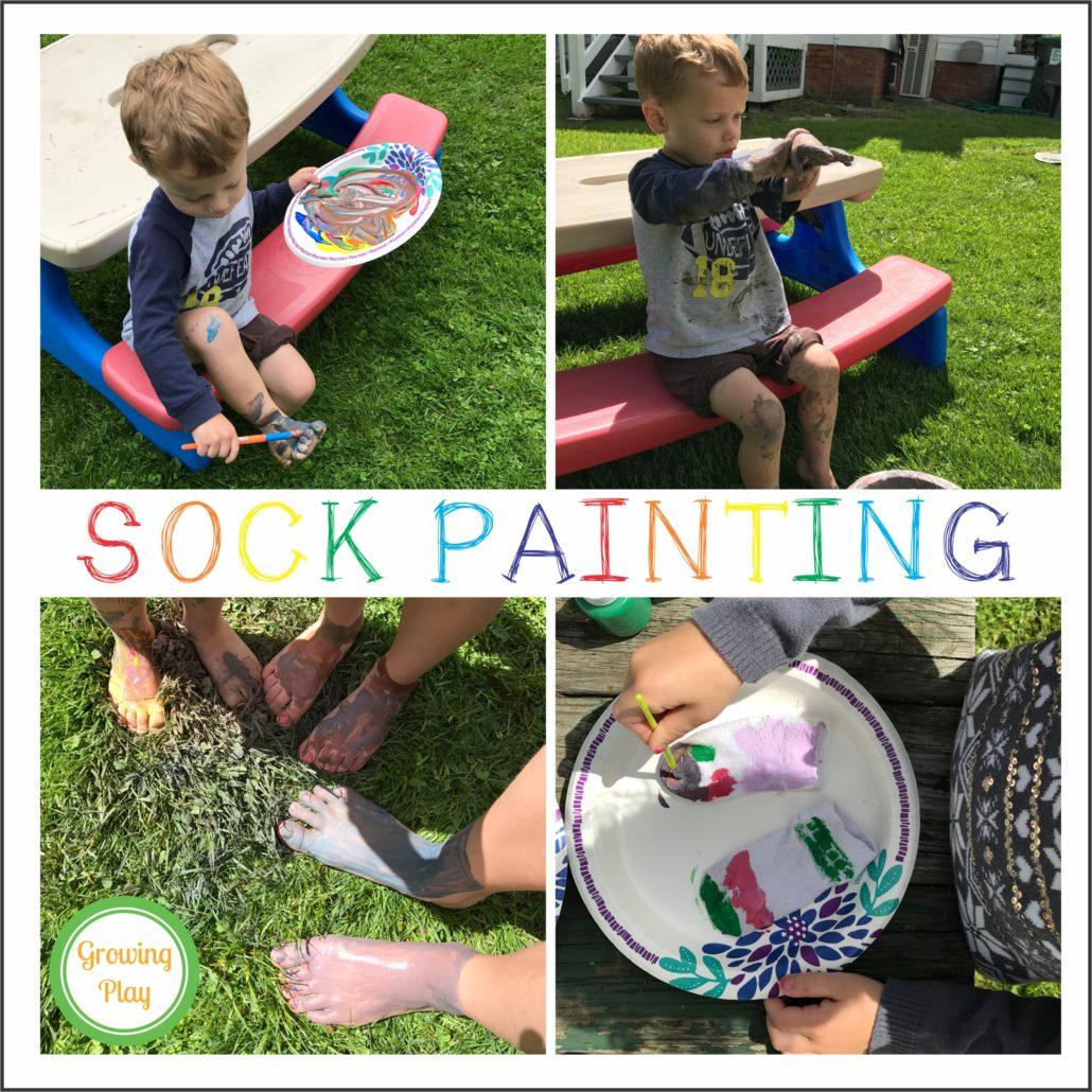 Sock Painting from www.GrowingPlay.com