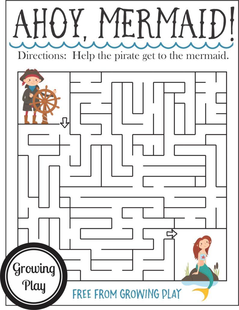 Pirate Maze Ahoy Mermaid Visual Motor Challenge Growing Play