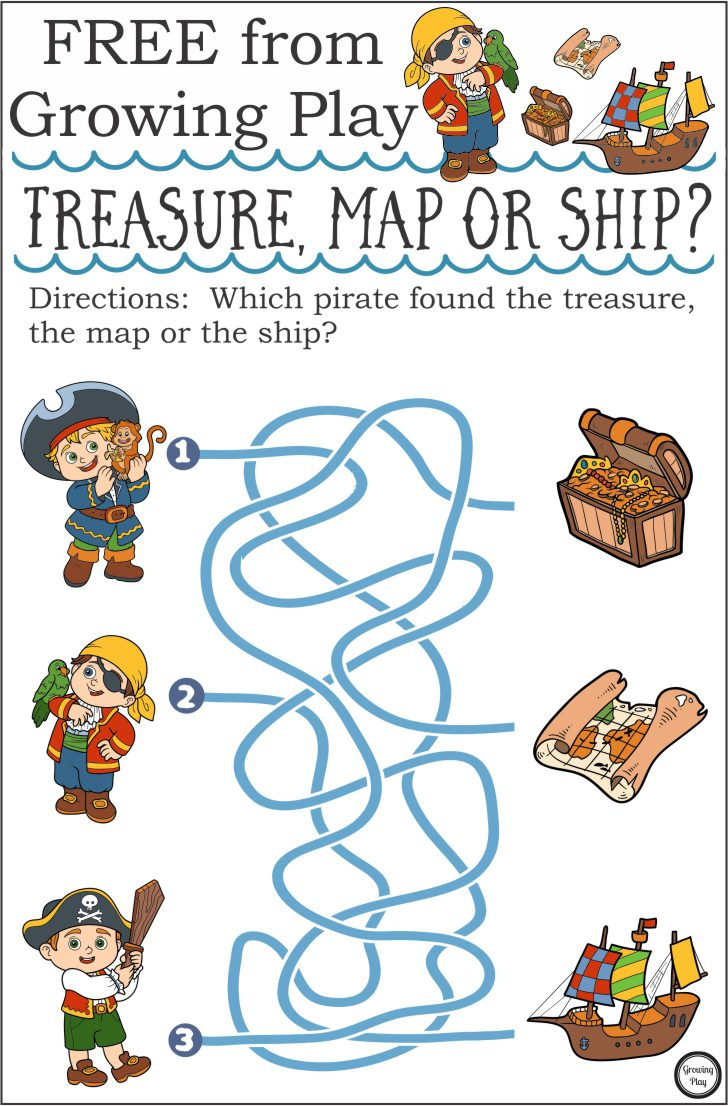 treasure map or ship pirate maze growing play