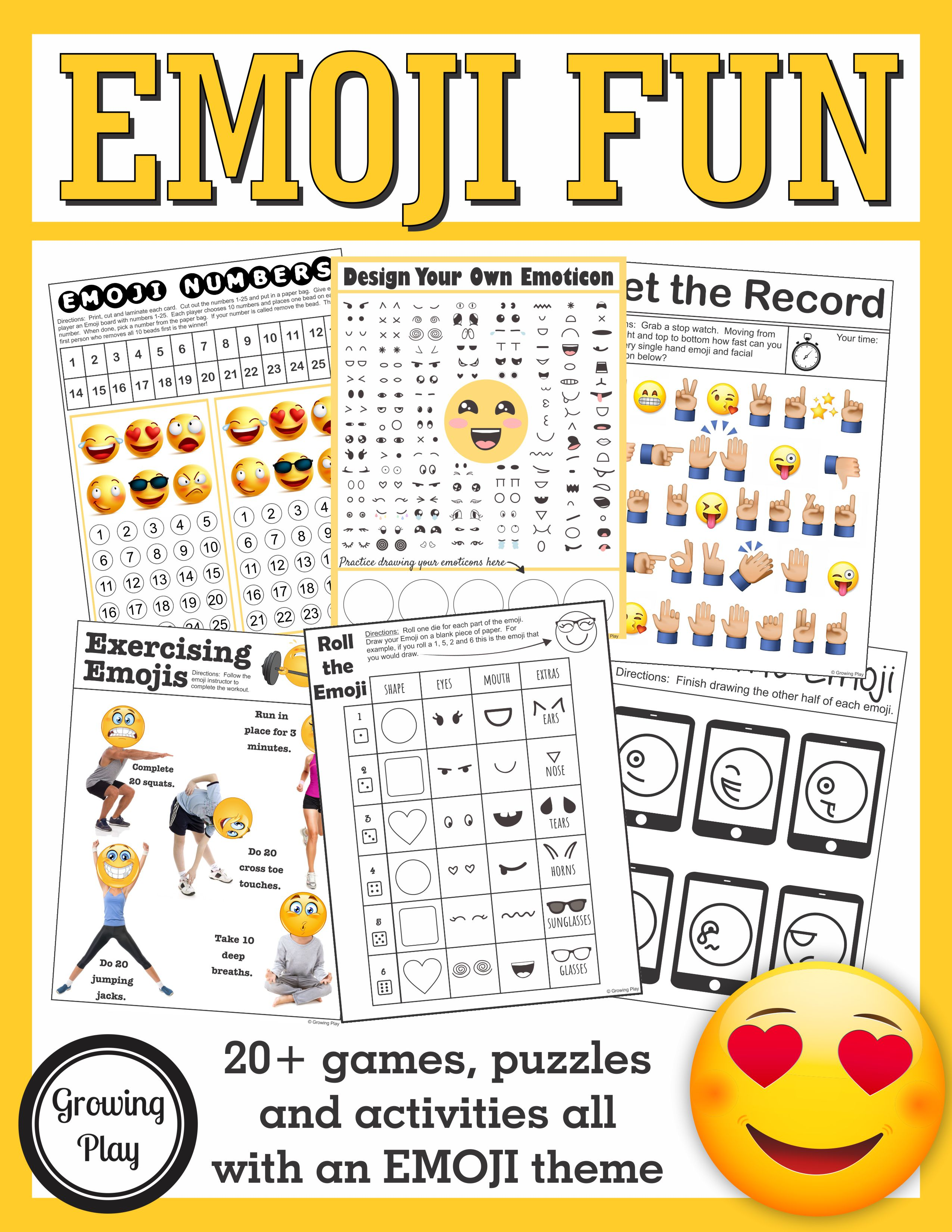 Emoji Games And Puzzles Packet Birthday Parties