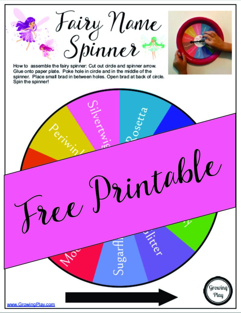 Fairy Name Spinner Game Free Printable Growing Play Jpg 793x1030 Spinners