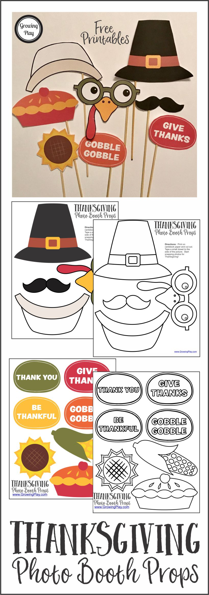 Thanksgiving Photo Booth Props FREE from Growing Play