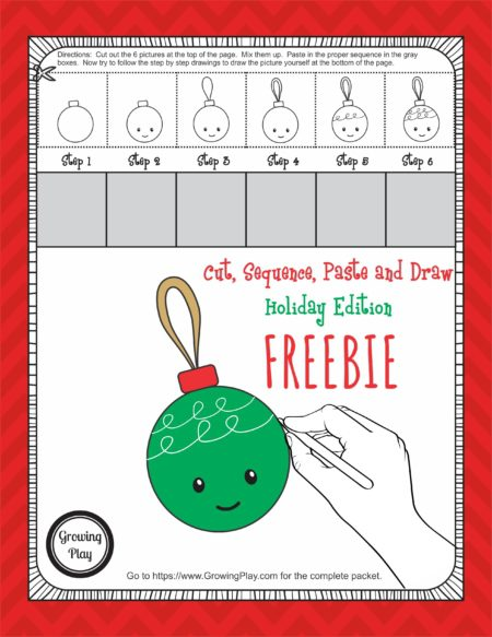 Cut, Sequence, Paste and Draw Holiday Free