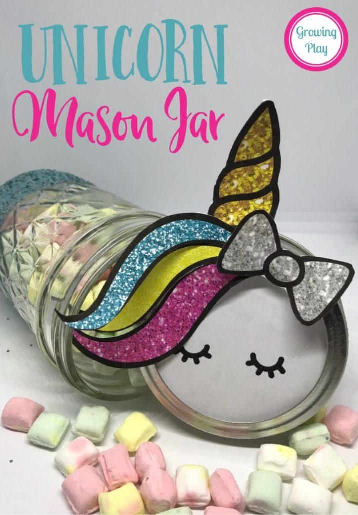 Unicorn Party Favor Printable - Unicorn Mason Jar