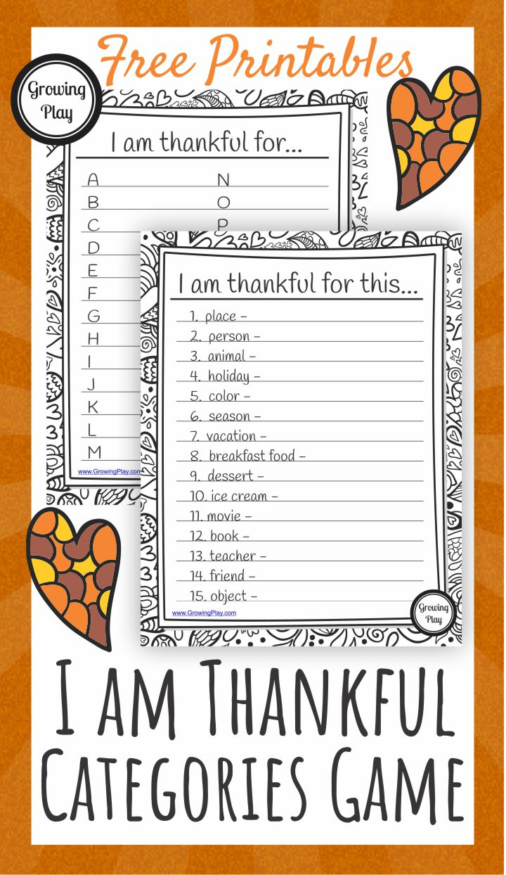 I am Thankful Categories Game