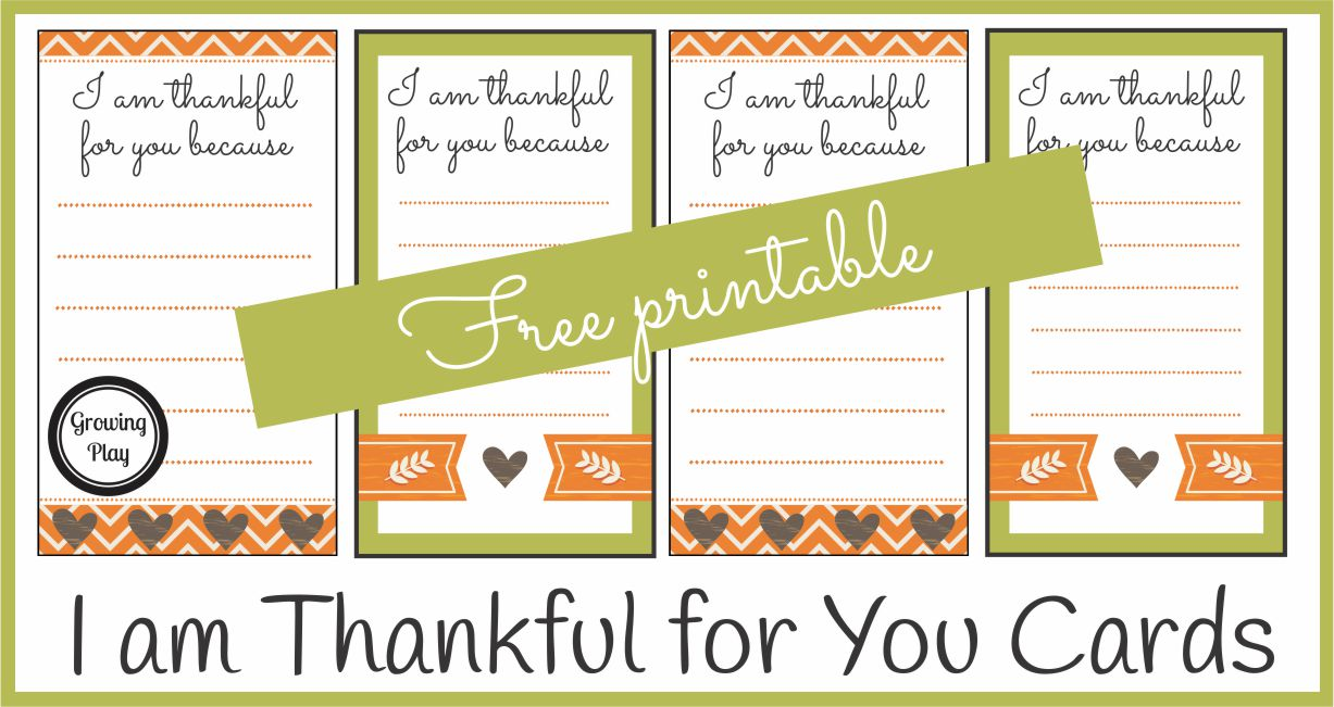 I am Thankful for You Cards - Handwrite and Hand Out