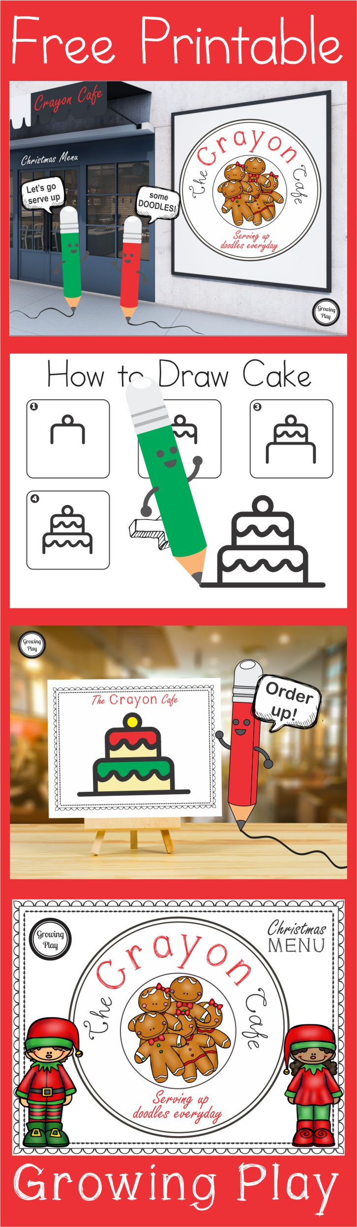 How to Draw Christmas Cake from the Christmas Crayon Cafe at Growing Play