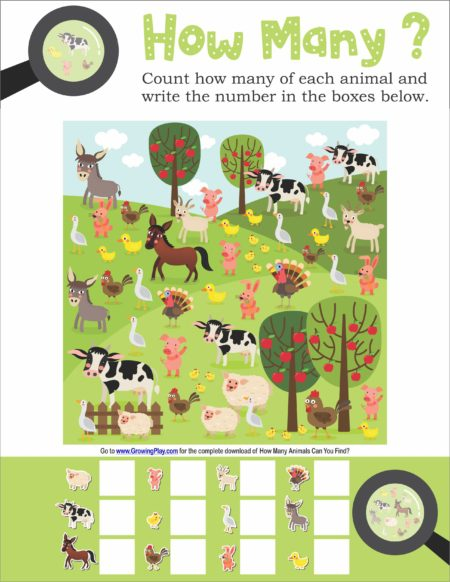 How Many Animals Can You Find Visual and Counting Game from Growing Play