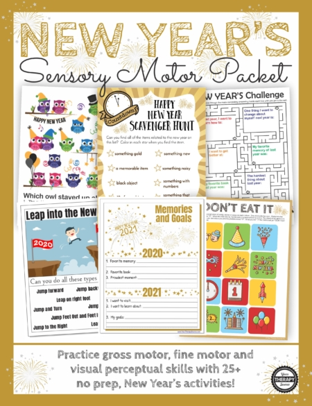 New Year's Games and Activities Packet: Practice fine motor, gross motor, visual perceptual and handwriting activities with this no-prep, fun, packet.