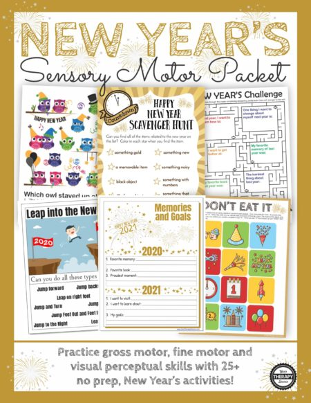 New Year's Games and Activities Packet:Practice fine motor, gross motor, visual perceptual and handwriting activities with this no-prep, fun, packet.
