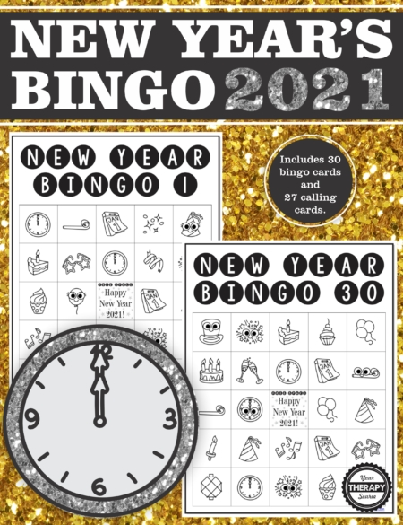 This printable New Year's Eve bingo game is super easy to play – no reading required.