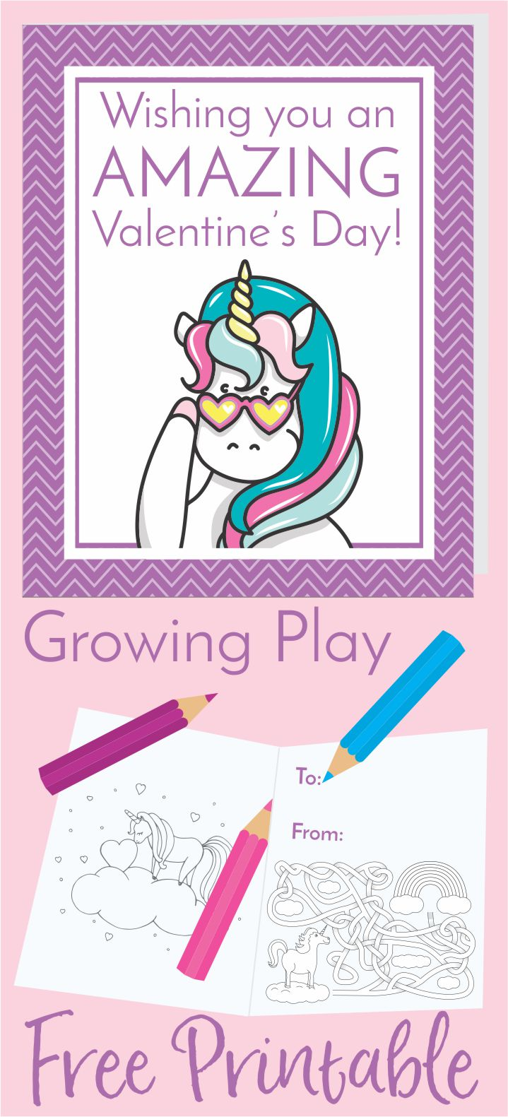 Unicorn Valentine's Day Card Freebie from Growing Play
