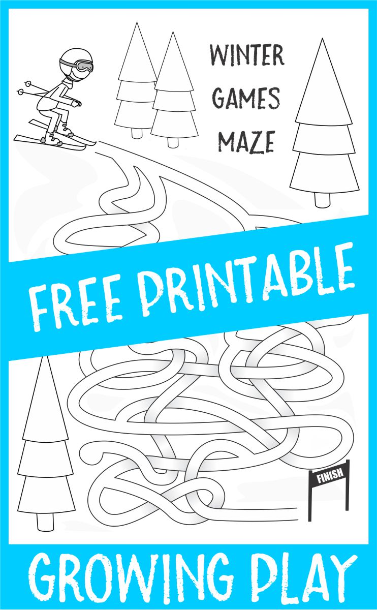 Winter Games Maze Free Printable Downhill Skiing Maze from Growing Play