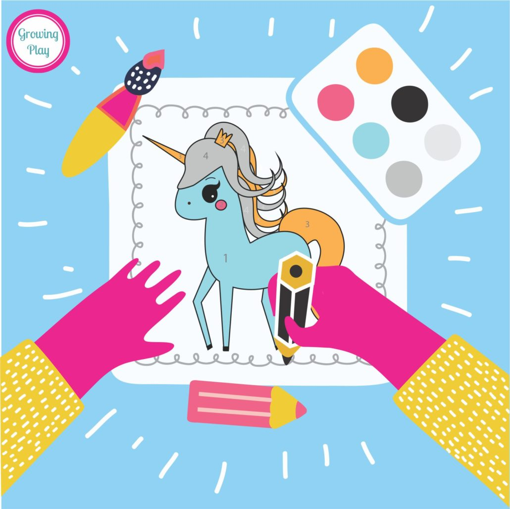 Unicorn Color By Number Freebie - Growing Play