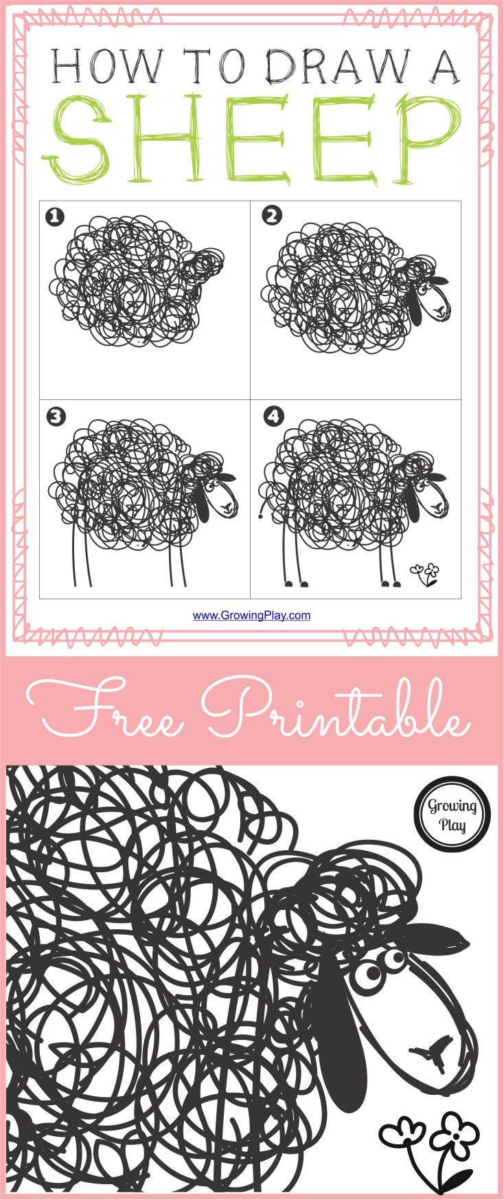 How to Draw Sheep - Free Printable