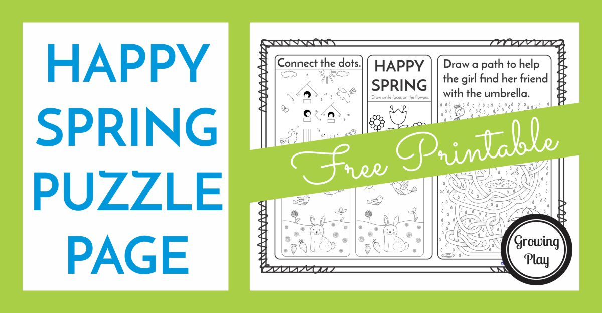 Happy Spring Puzzle Page - Free Printable