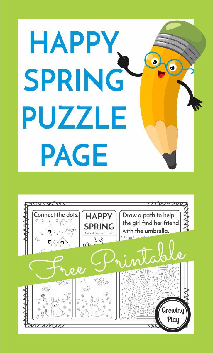 Happy Spring Puzzle Page - Free Printable