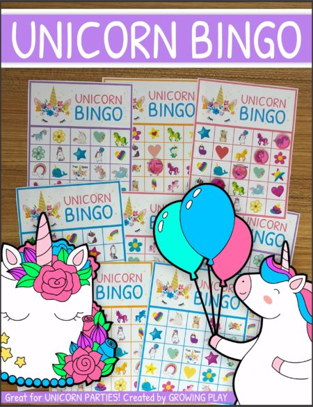 Unicorn Bingo Party Printable Instant Download from Growing Play