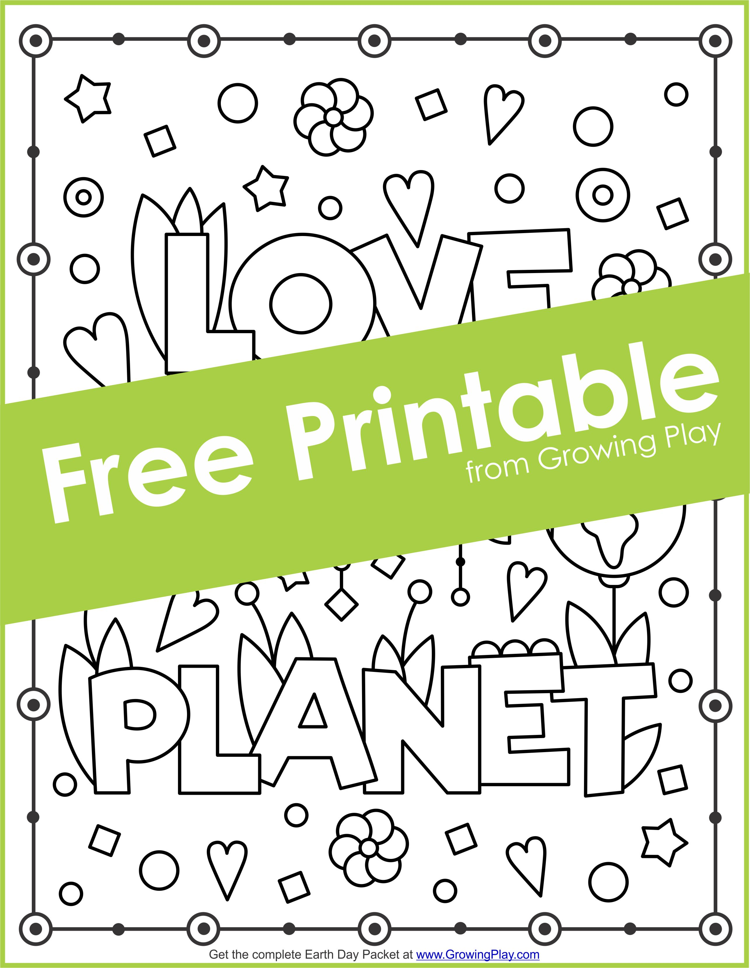 Earth Day Packet - Games, Coloring Pages and Puzzles - Growing Play