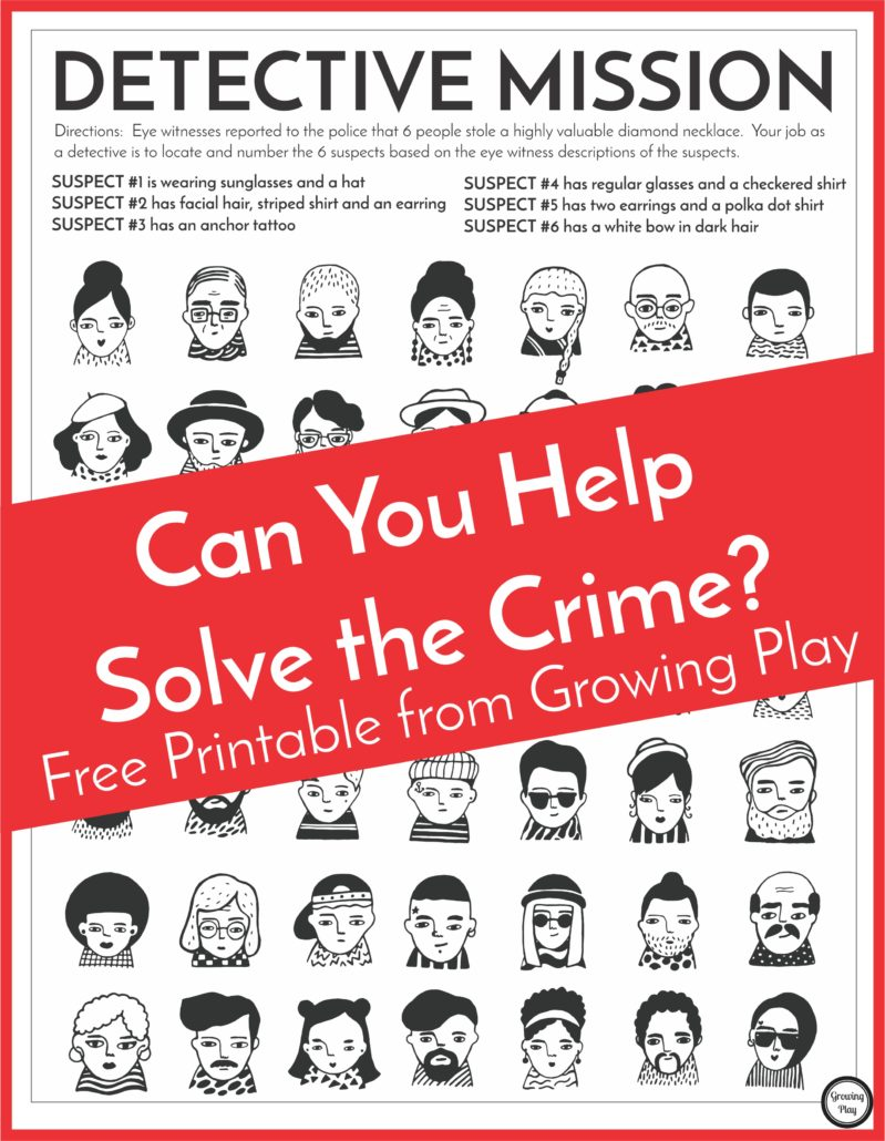 photo about Printable Detective Games known as Detective Puzzle for Small children - Totally free Printable - Escalating Engage in