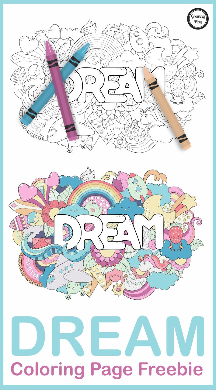 Dream Coloring Page Freebie from Growing Play