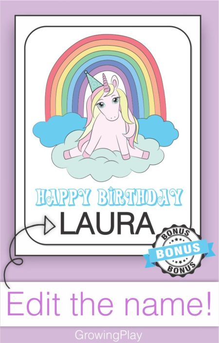 This super cute UNICORN Coloring Book (digital download) includes 12 adorable black and white unicorn pictures with phrases to color.  Plus, one BONUS birthday coloring page.  You can even edit the name to include your child's name right on the Unicorn birthday coloring page.