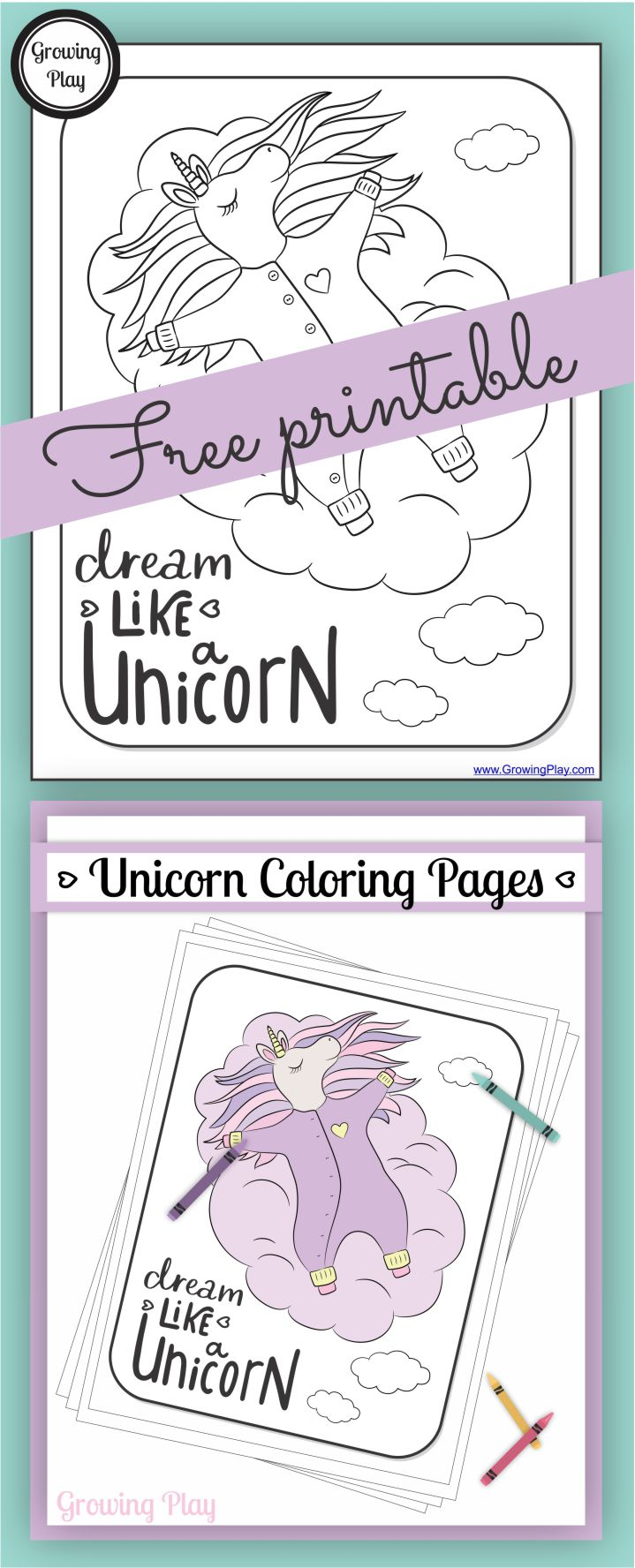 Do you love unicorns?  Check out this Dream like a unicorn coloring page freebie from the brand NEW Unicorn Coloring Book.  This coloring page is perfect for unicorn lovers who want to be creative and colorful.